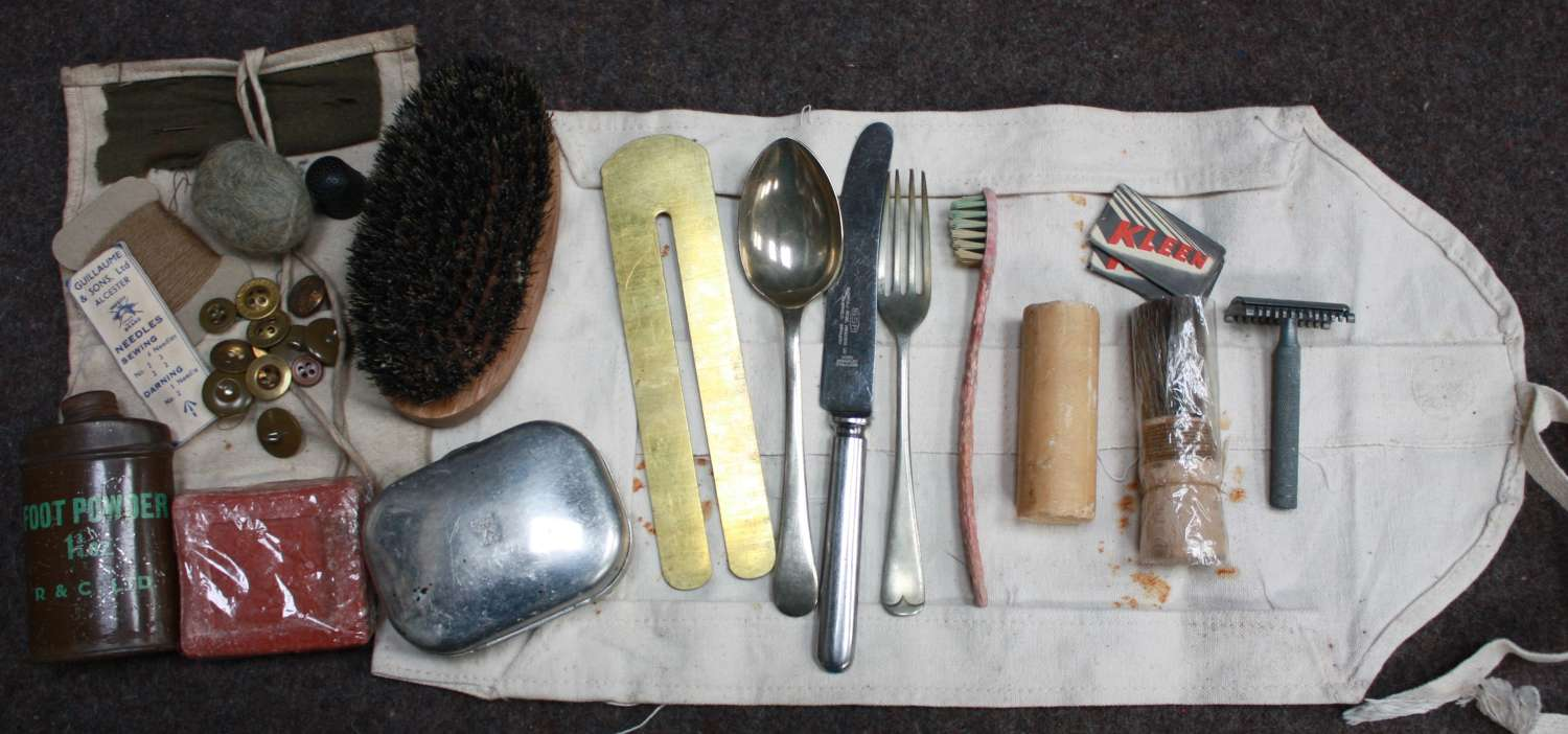 A WWII WASH KIT ROLL SET AND HOUSE WIFE ETC