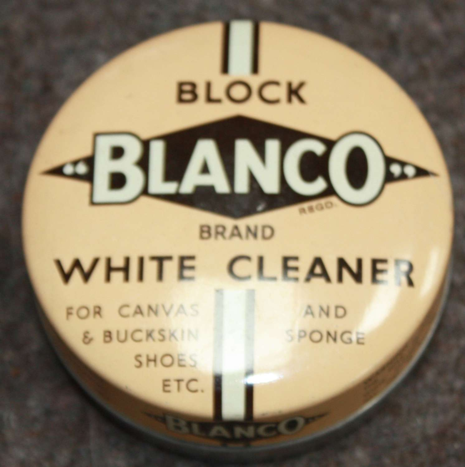 A GOOD EARLY POST WWII WHITE TIN OF BLANCO