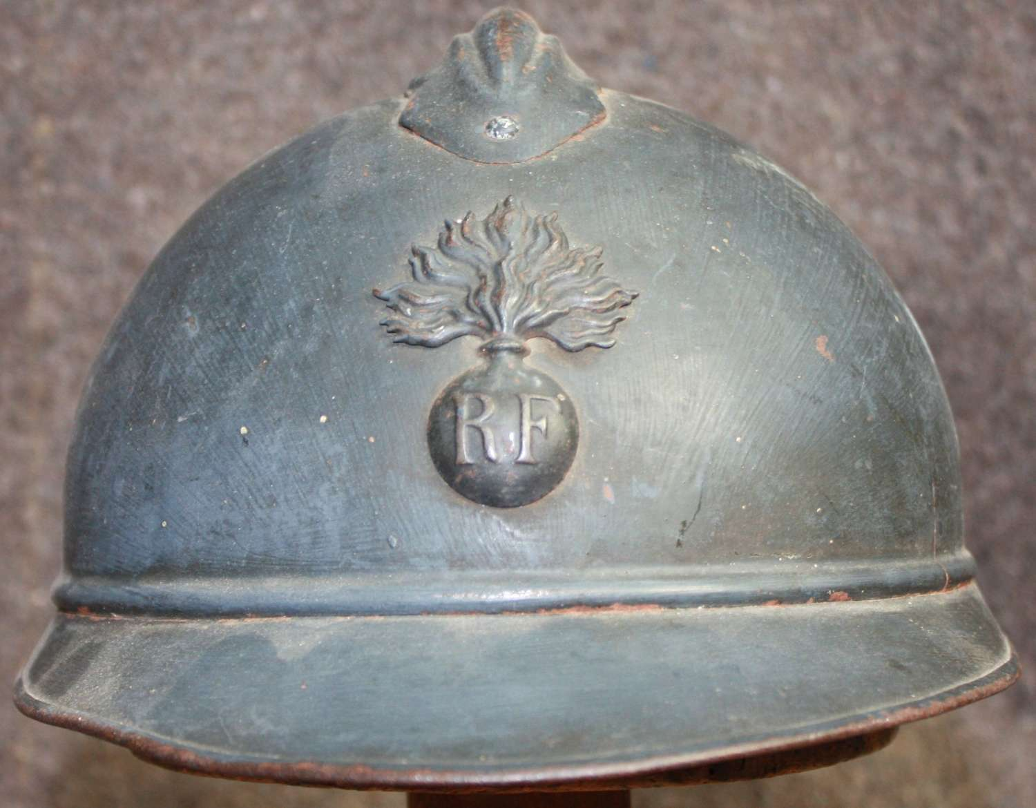 A GOOD USED LATE WWI FRENCH ARMY ADRIAN HELMET