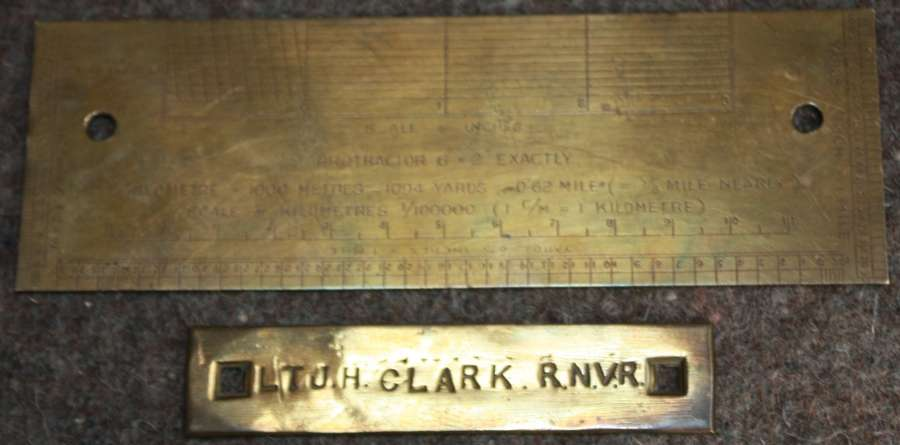 A RARE WWI 1917 DATED BRASS RECTANGLE MAP PROTRACTOR
