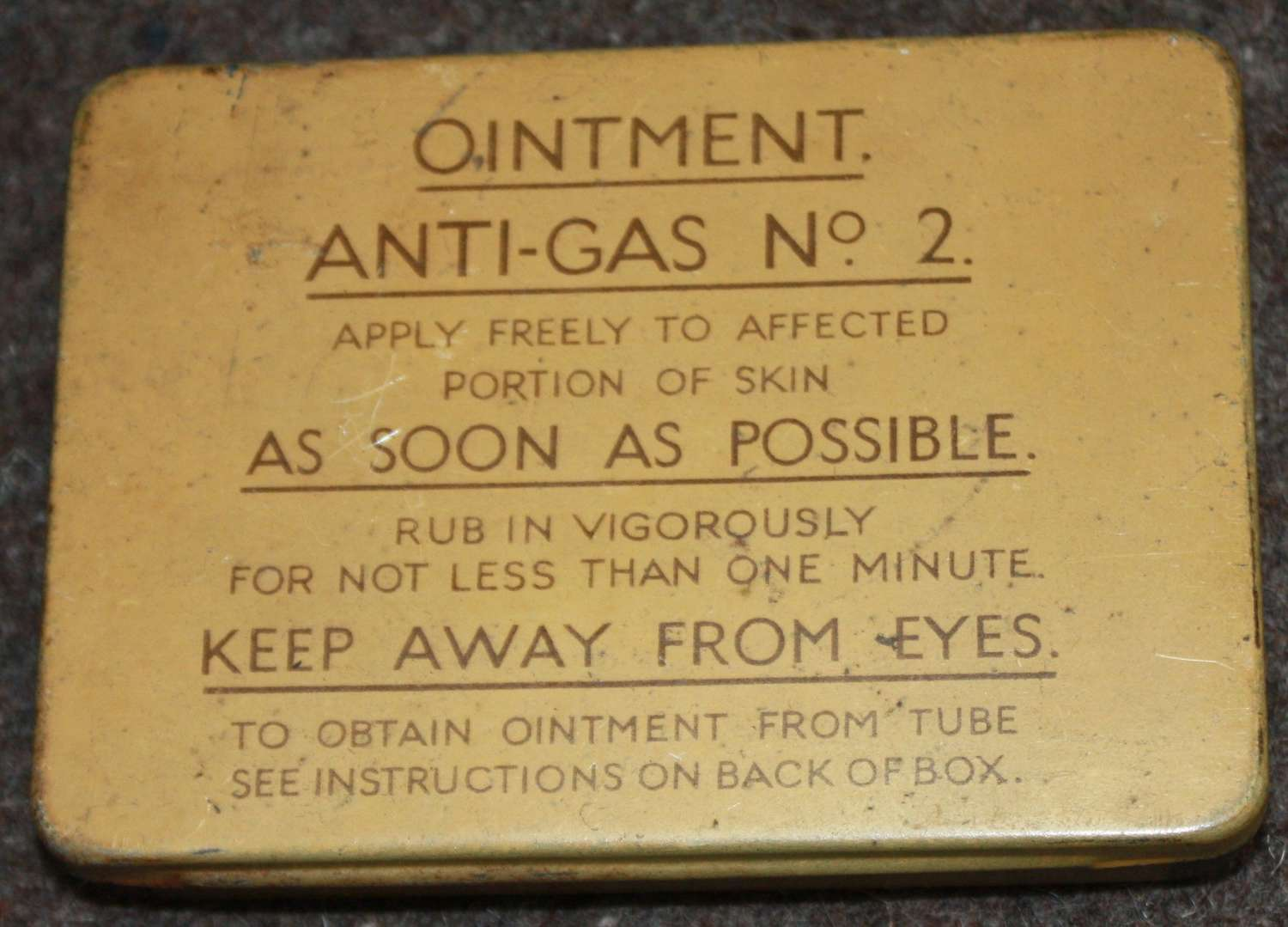 A VERY GOOD CLEAN EARLY 1940 DATED ANTI GAS OINTMENT NO2 TIN
