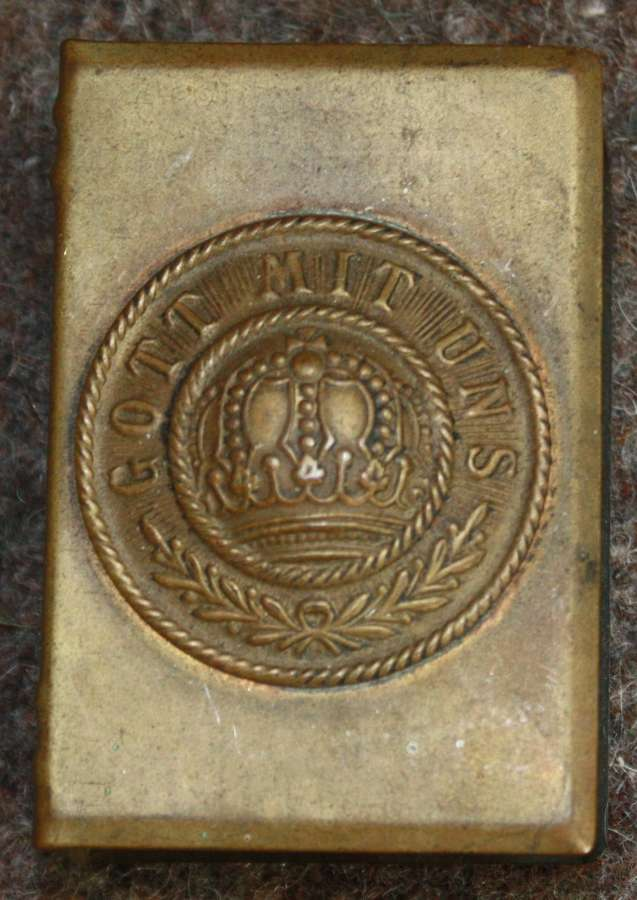 A WWI MATCH BOX COVER WITH A GERMAN PART OF BUCKLE