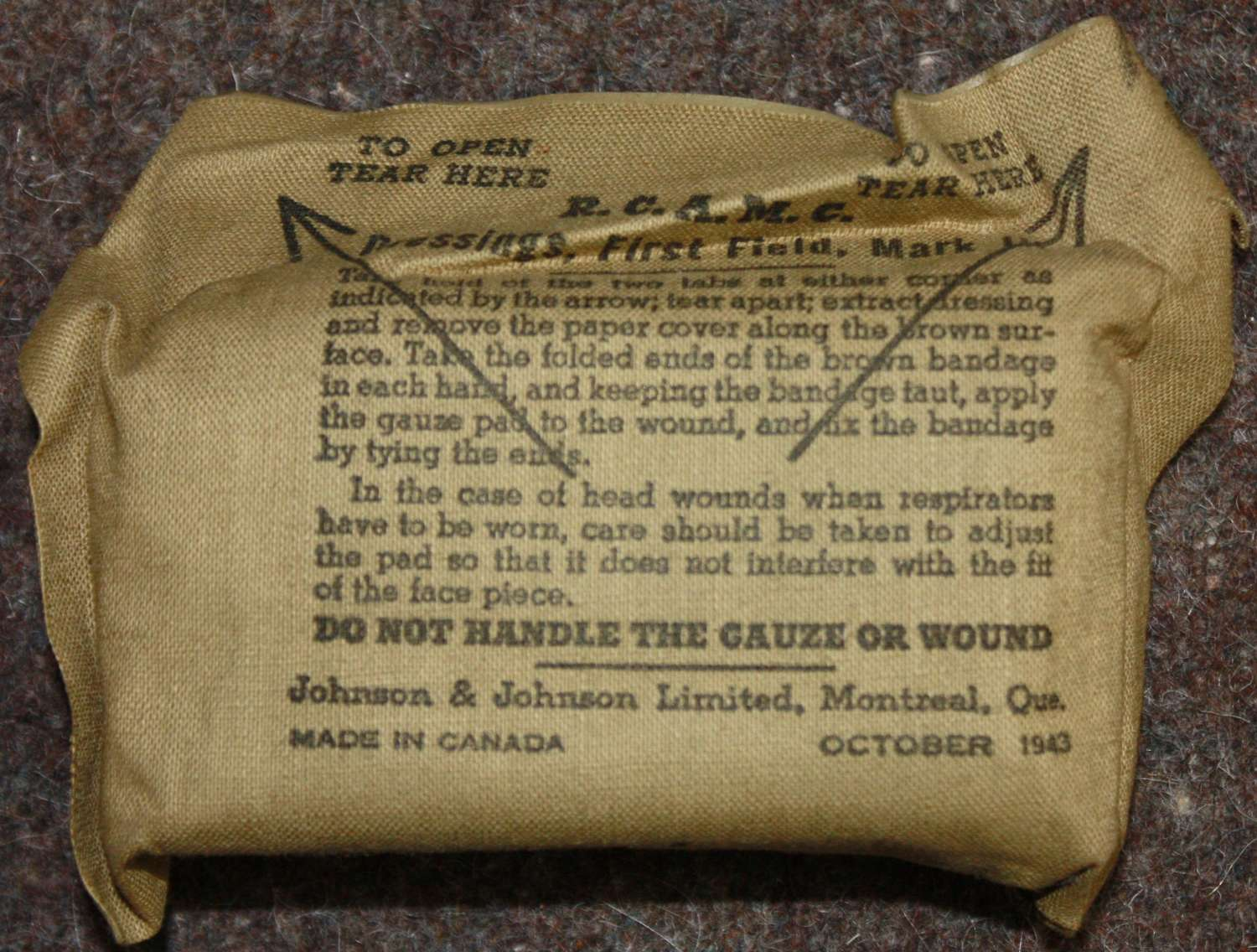 A 1943 DATED CANADIAN 1ST FIELD DRESSING