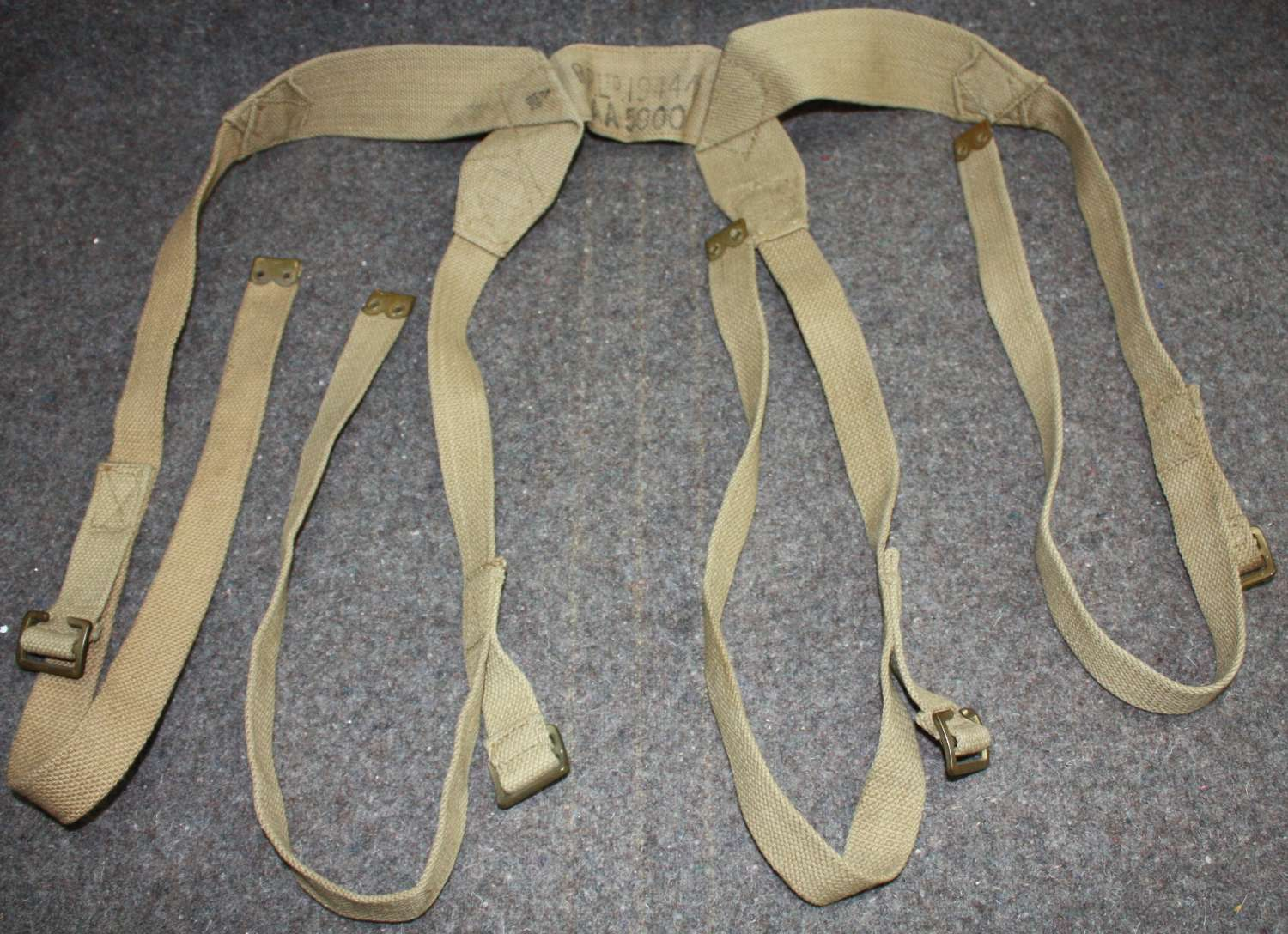 A 1944 DATED LOAD CARRYING STRAPS ( COMMONLY KNOWN BREN TRIPOD STRAPS)