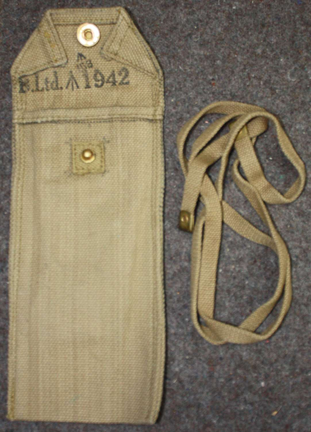 A WWII AIRBORNE BIKE REPAIRE KIT POUCH AND STRAP