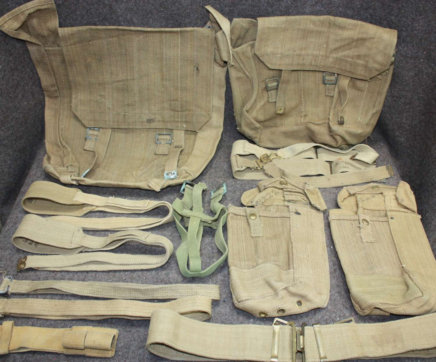 A SET OF WWII 37 PATTERN INDIAN WEBBING