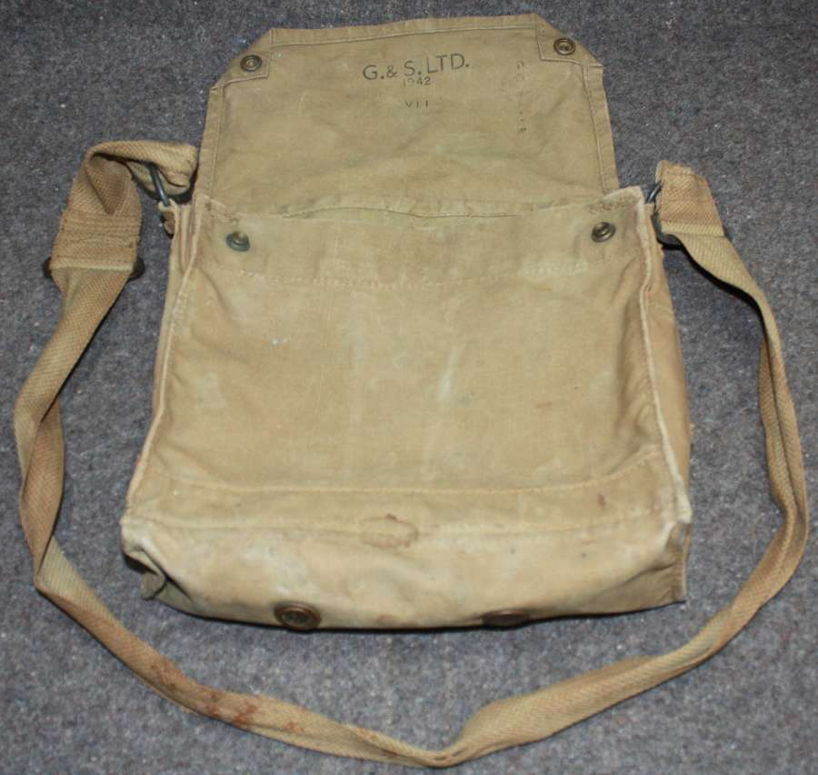 A USED WWII GAS MASK BAG 1942 DATED
