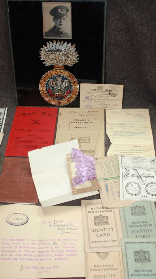 A WWII ROYAL WELSH FUSILIERS PAY BOOK AND OTHER DOCUMENTS