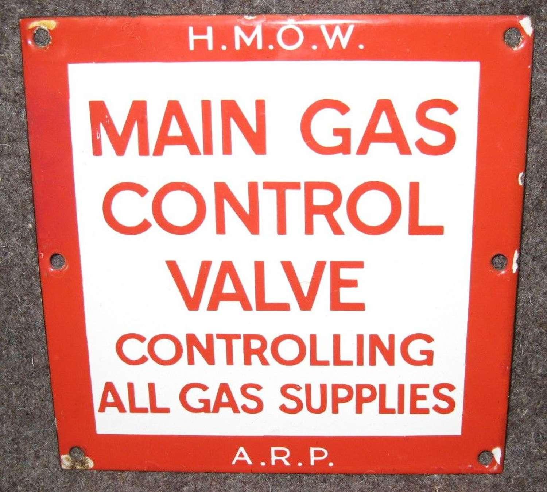 A WWII ARP / HMOW GAS MAIN CONTROL VALVE SIGN