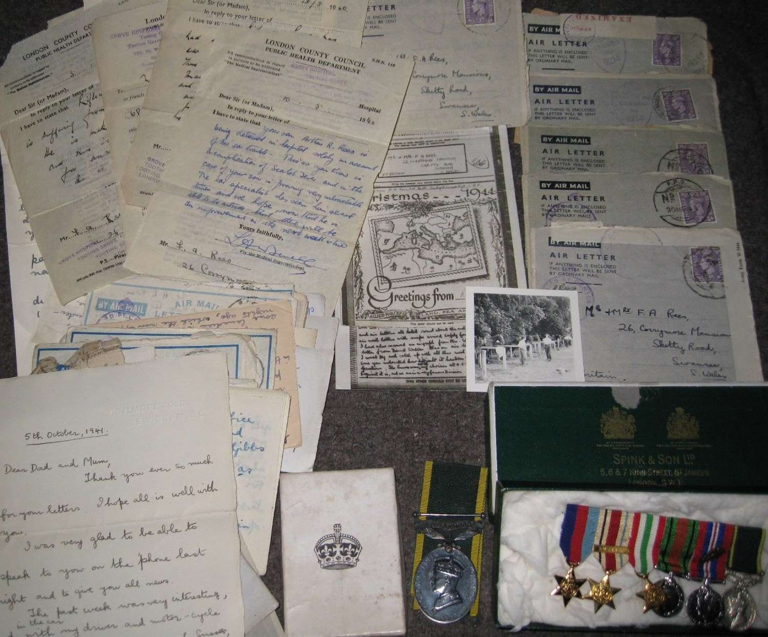 A WWII MID CAPTAINS TEM MEDAL GROUP AND LETTERS ETC ( KSLI TEM )