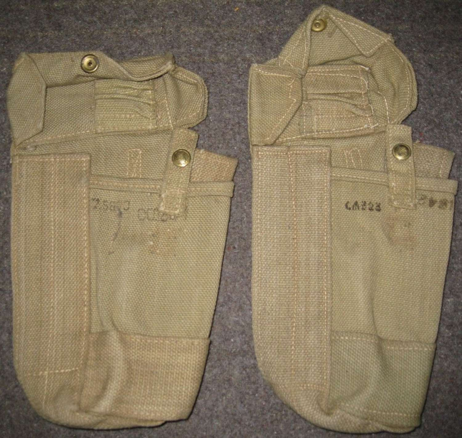 A GOOD MINT PAIR OF MADE 37 PATTERN WEBBING AMMO POUCHES MKII