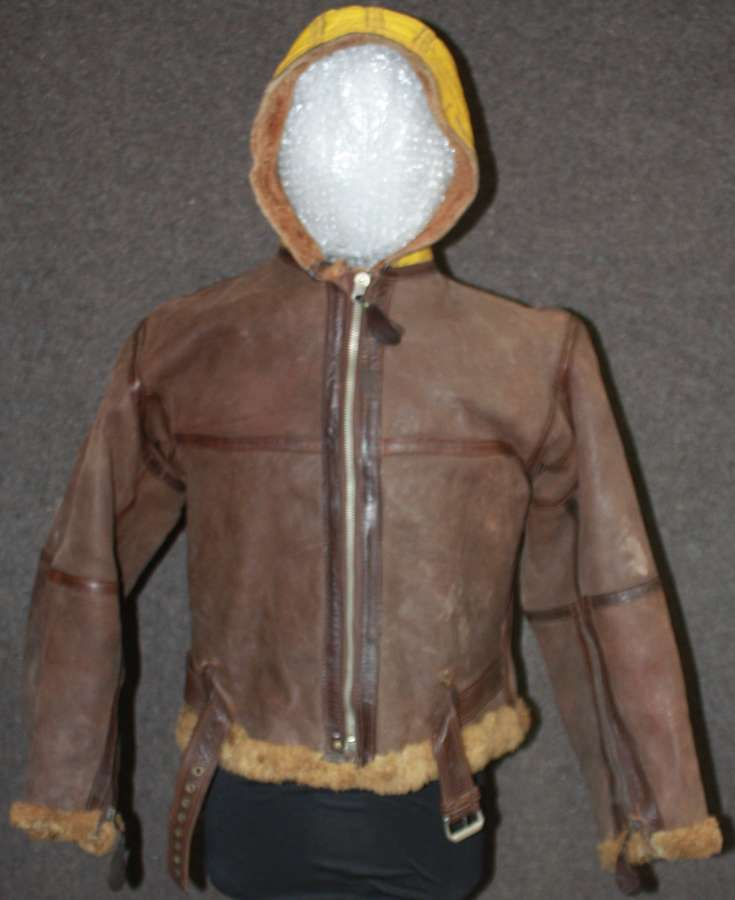 A WWII MID WAR YELLOW HOODED IRVIN JACKET NO LABEL