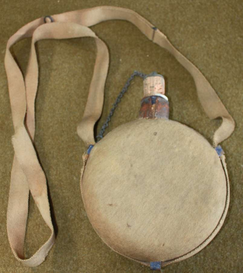 A BRITISH 1895 MODEL WATER BOTTLE AND STRAP SEE PICS