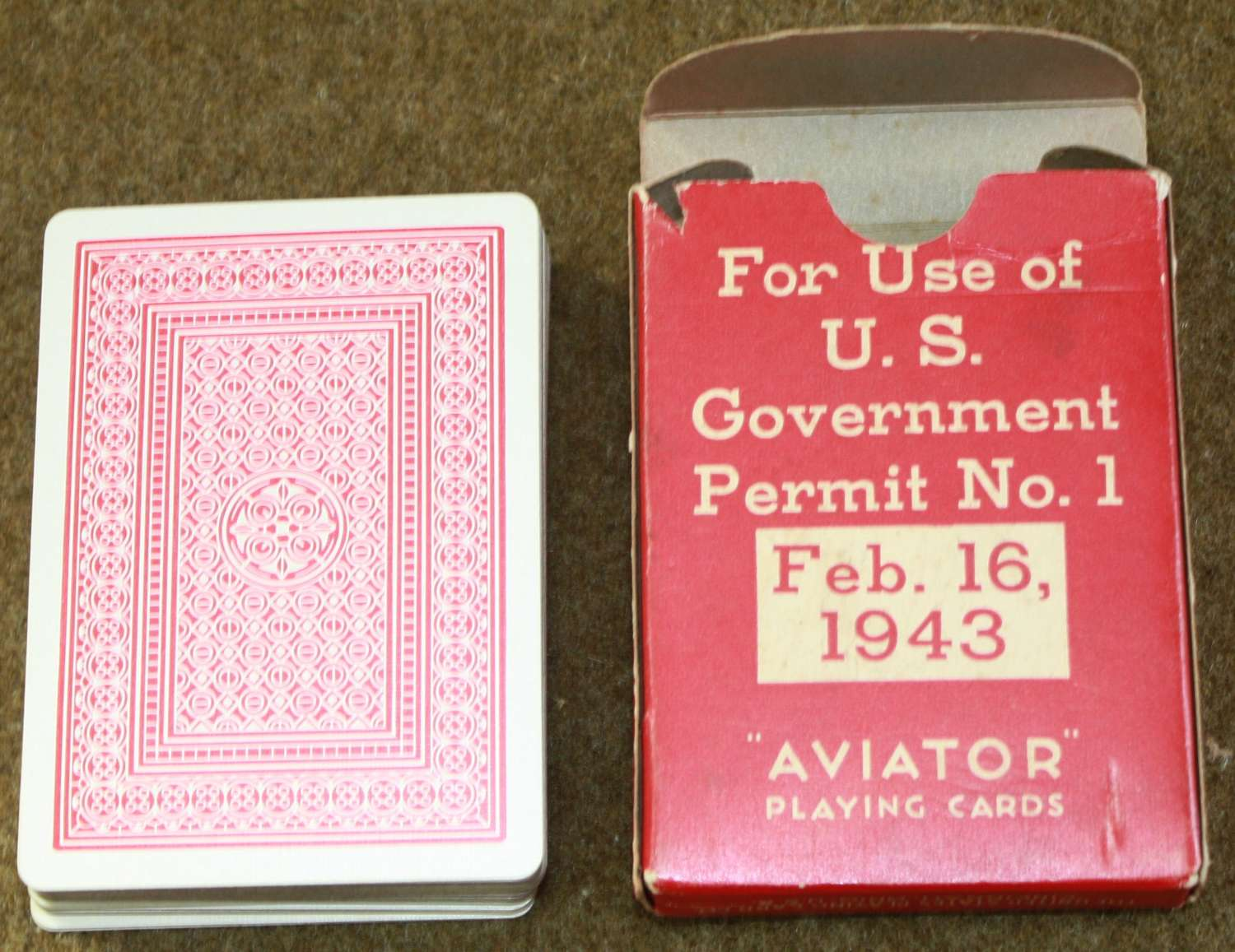 A PACK OF US 1943 PLAYING CARDS GIVEN OUT BY THE US RED CROSS