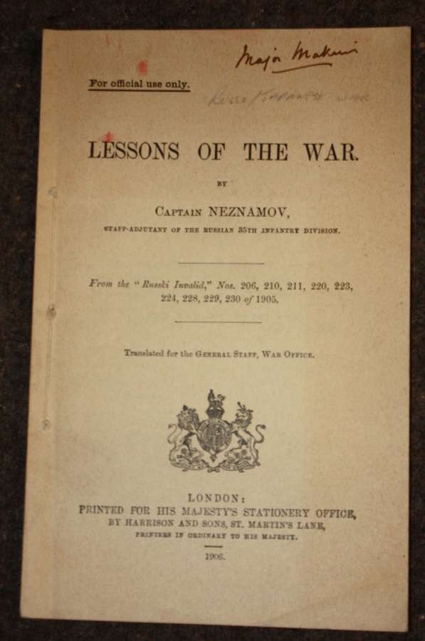 A GOOD 1906 LEASONS OF THE WAR ( RUSSIA / CHINA WAR )