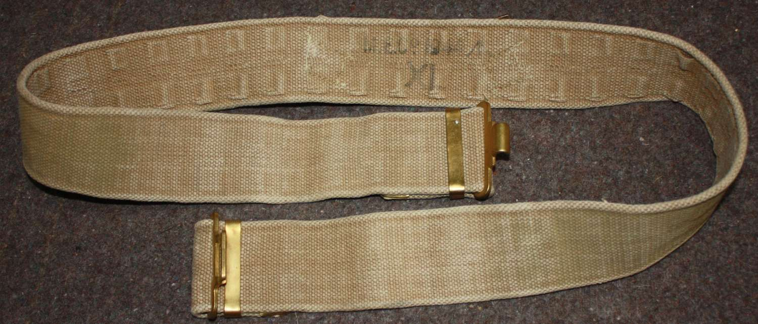 A WWII 1944 MECO MADE LARGE SIZE 37 PATTERN WEBBING BELT