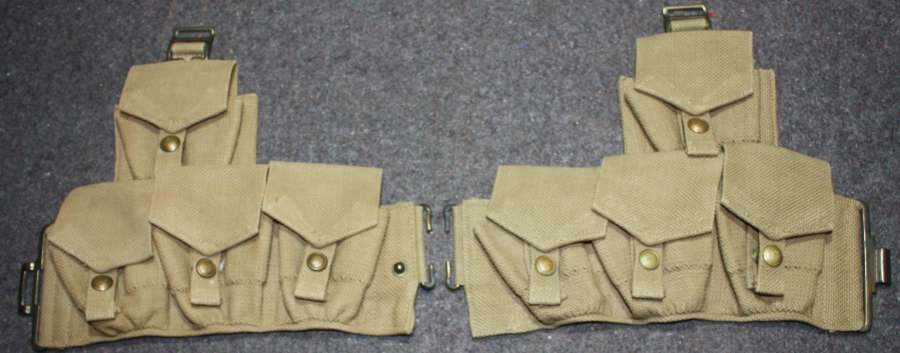 A PAIR OF THE AFGHAN 1927 WEBBING AMMO POUCHES AND REAR BELT SECTION