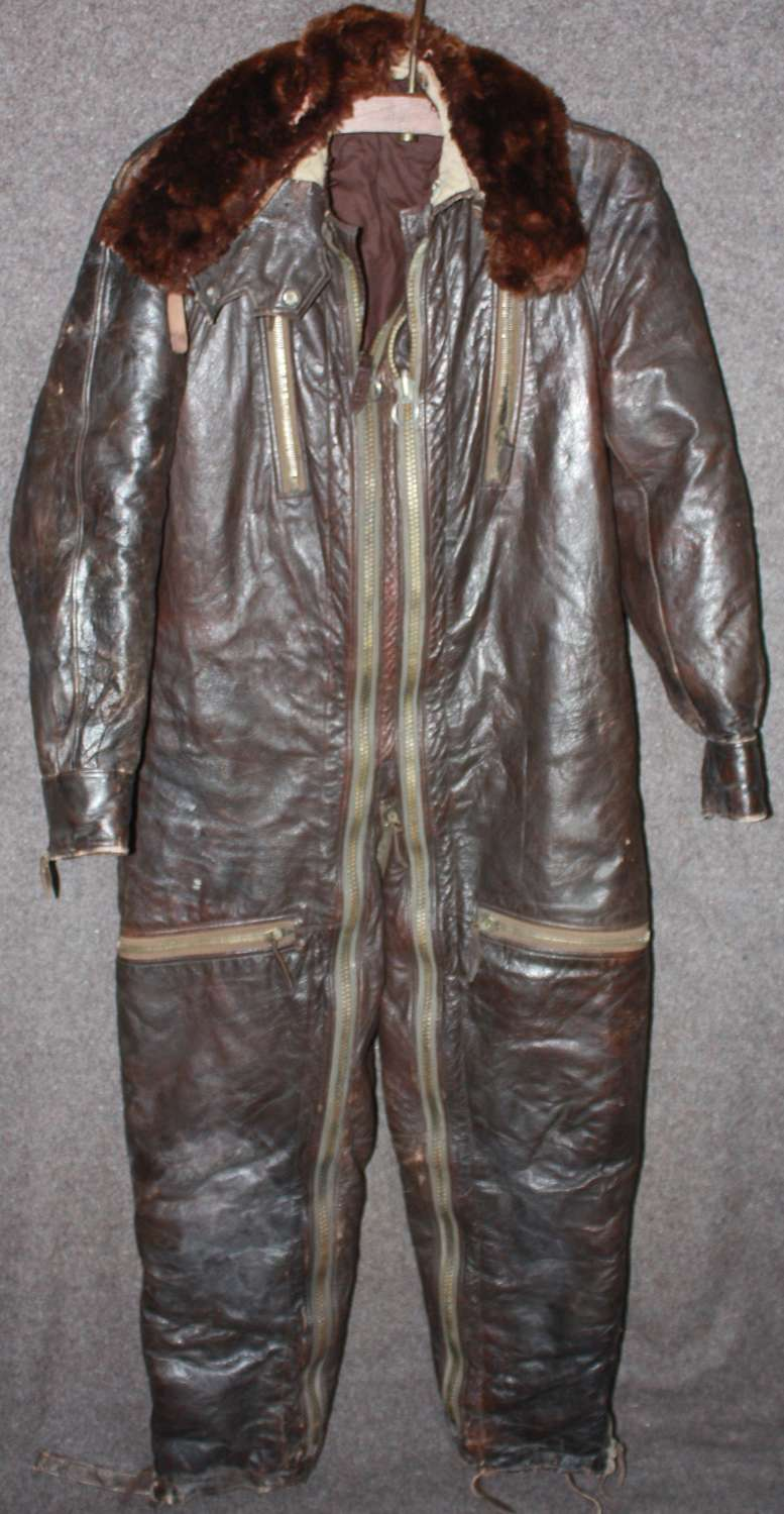 A WWII GERMAN LUFTWAFFE LEATHER FLYING SUIT SMALL SIZE  NO LABLE