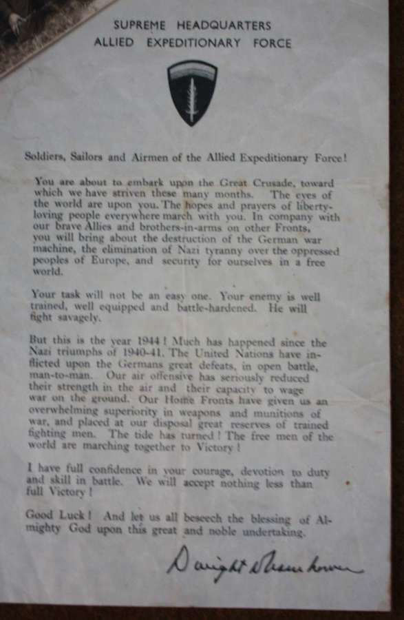 A GOOD ORIGINAL D-DAY LETTER WHICH HAS LIGHT WEAR TO IT