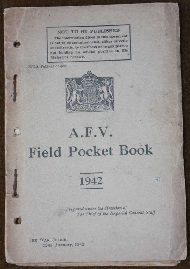 A RARE 1942 DATED ARMOURED CORPS POCKET BOOK
