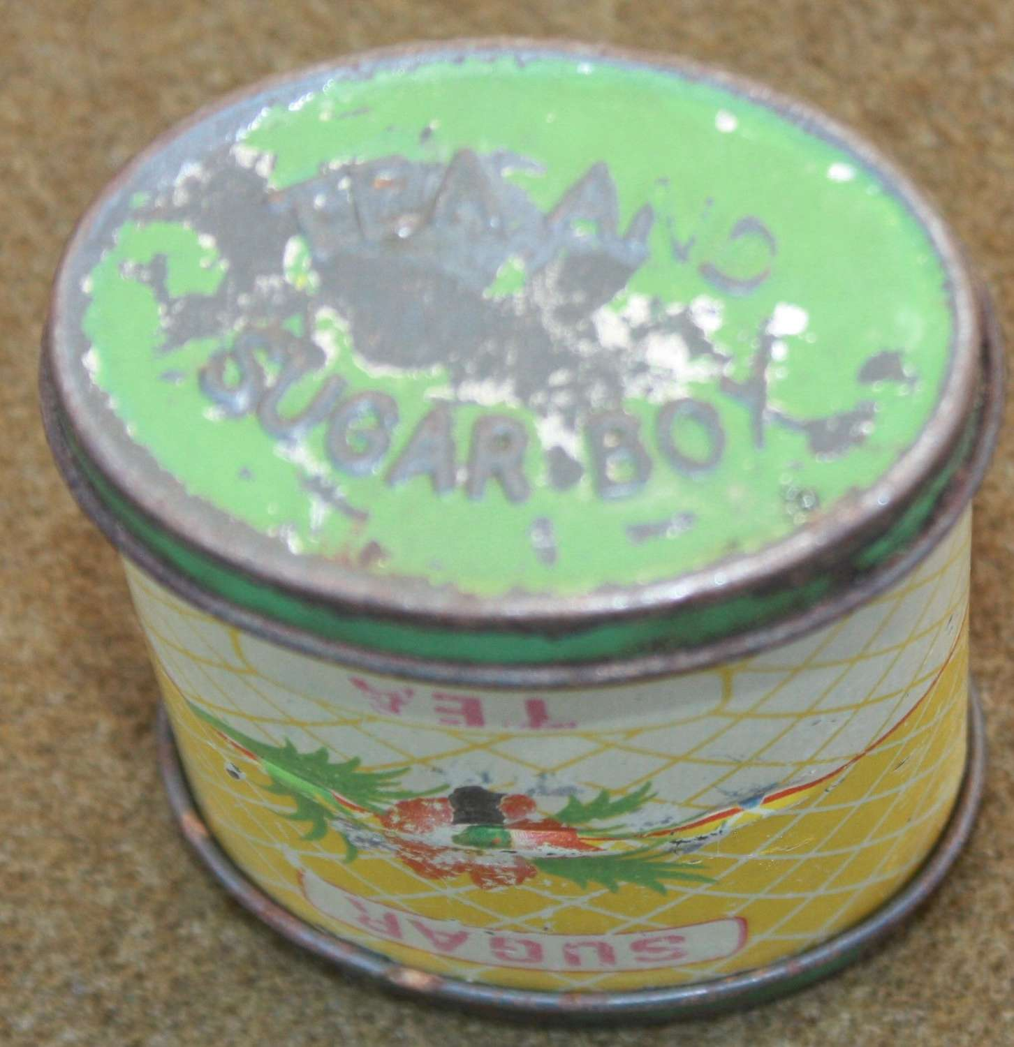 A WWII PERIOD TEA AND SUGAR RATION TIN