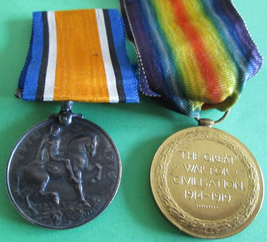 A WWI PAIR TO 14195 PTE H W AINSWORTH HAMPSHIRE REGT KIA 25 MARCH 1918