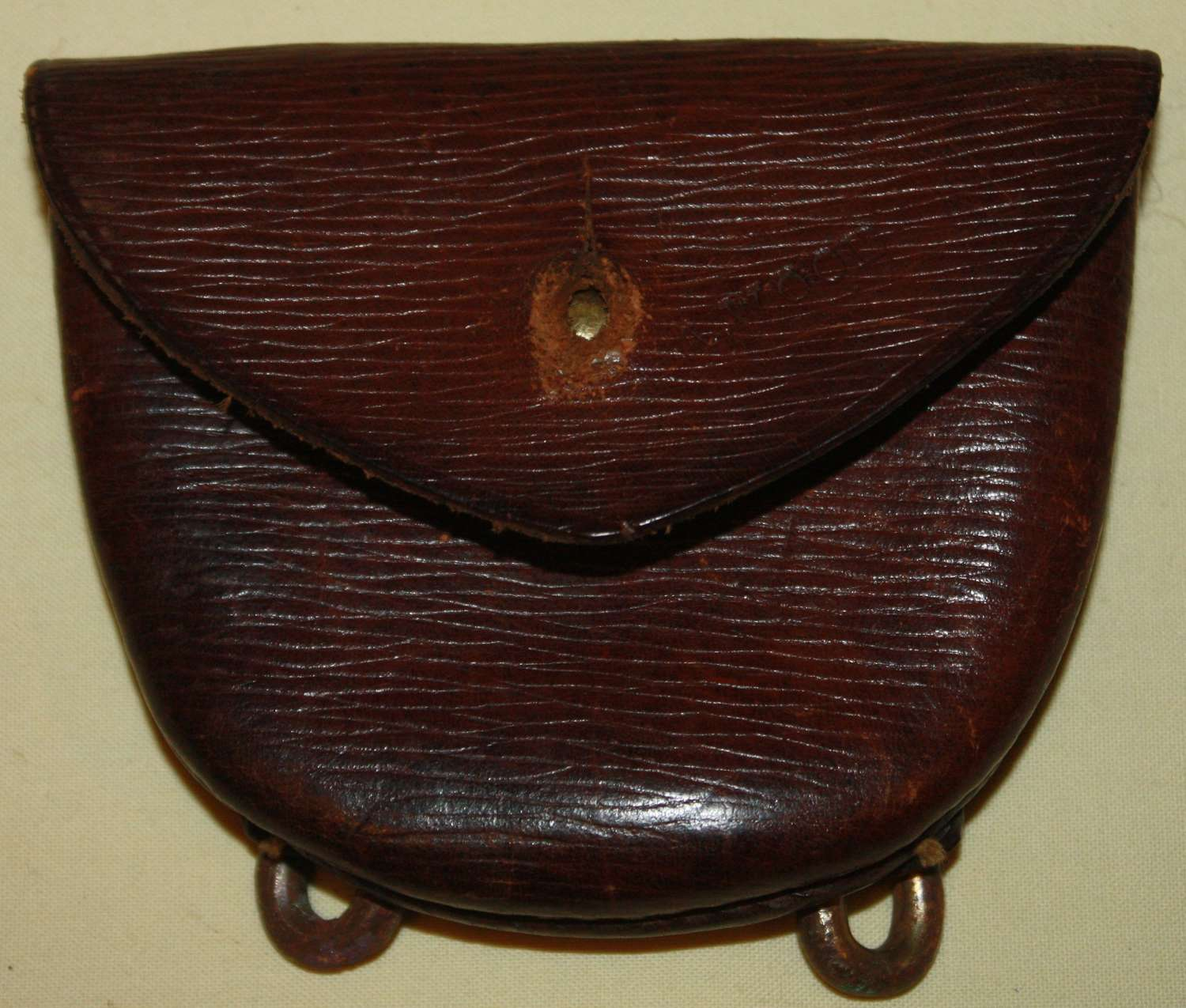 A GOOD USED WWI LEATHER PISTOL AMMO POUCH FOR THE 08 WEBBING