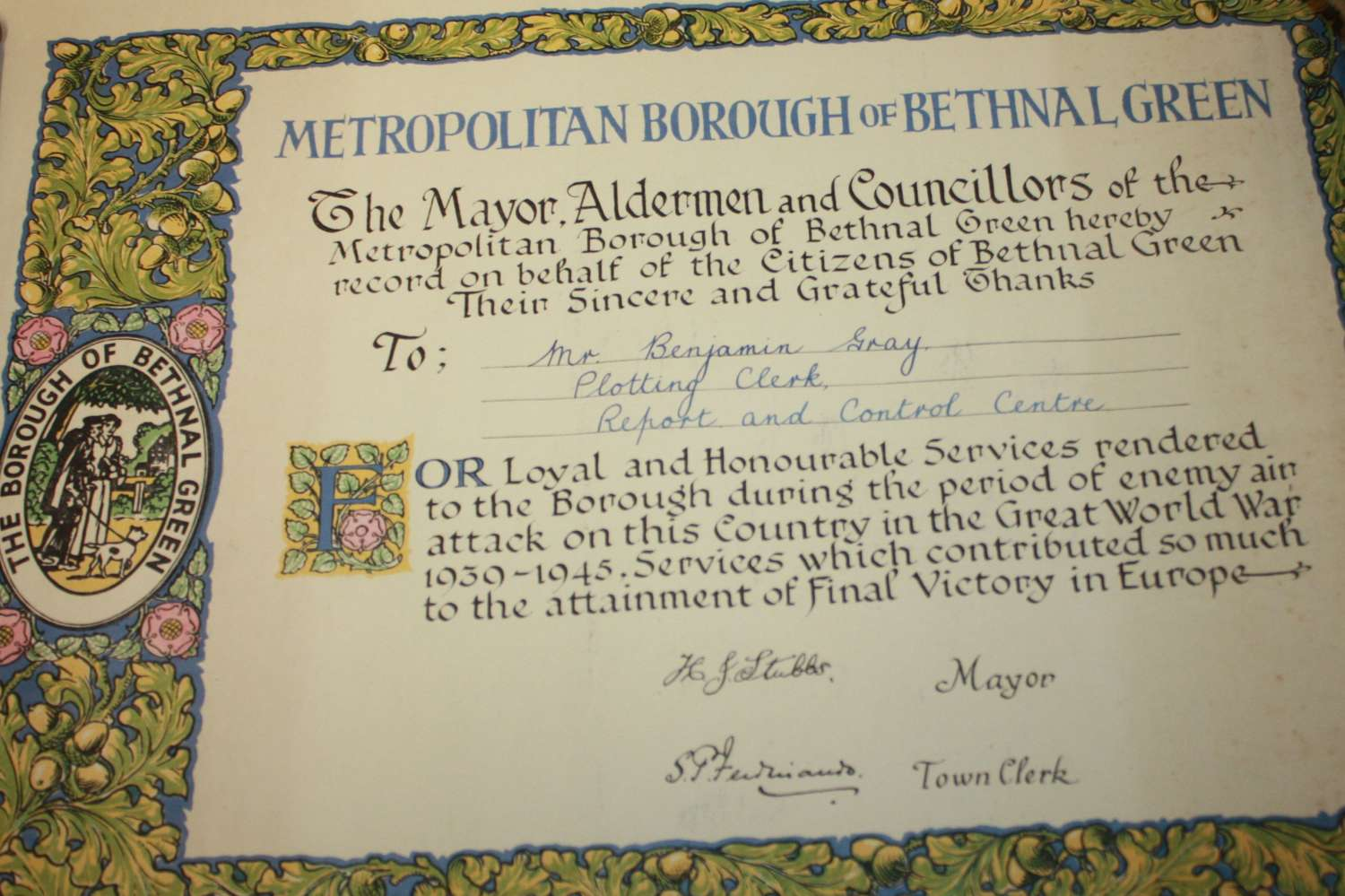 A GOOD SCARCE WWII ( LATE ) REPORT AND CONTROL SERVICE CERTIFICATE