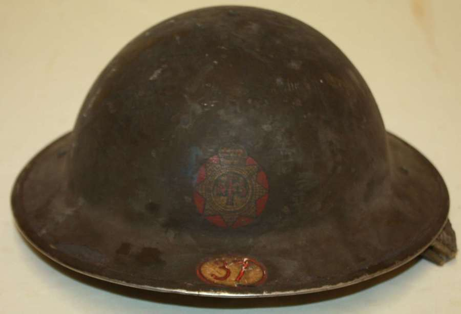 A GOOD SHED FIND WWII NFS FIRE HELMET WITH THE AREA CODE NUMBER 37