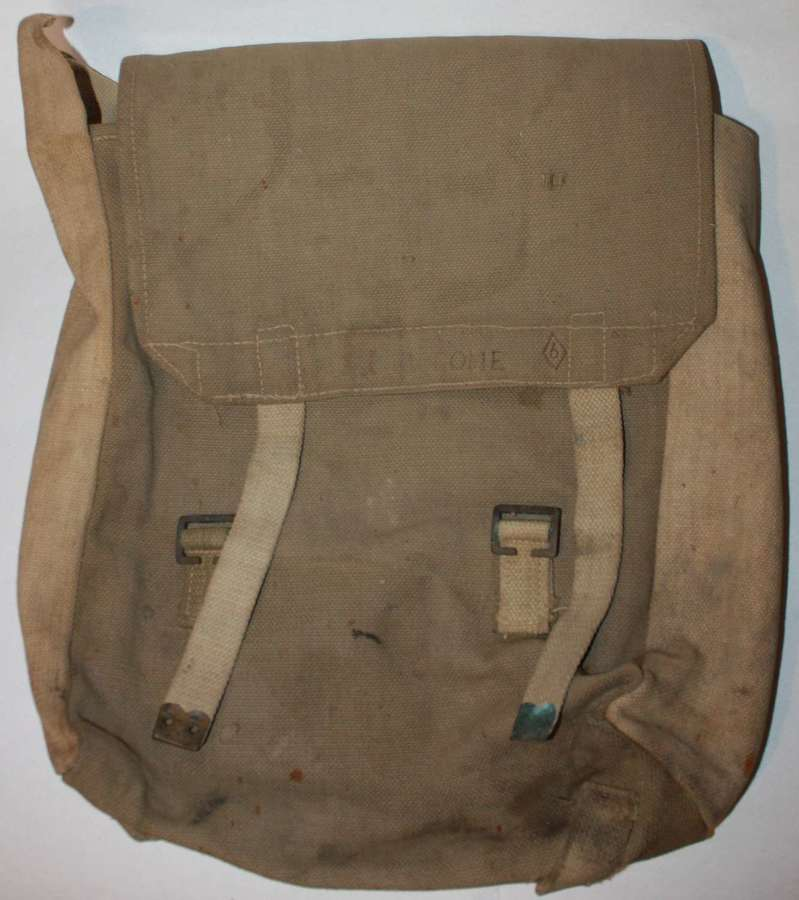 A GOOD USED WWII INDIAN MADE LARGE PACK 1944 DATED IN TWO COLOURS