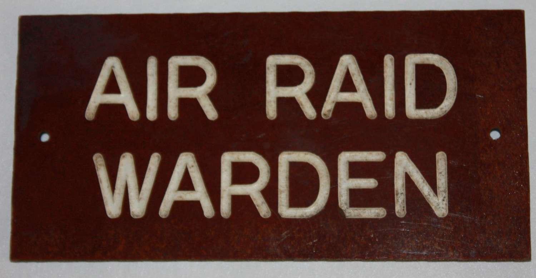 A WWII ARP WARDENS HOUSE / ROOM DOOR SIGN