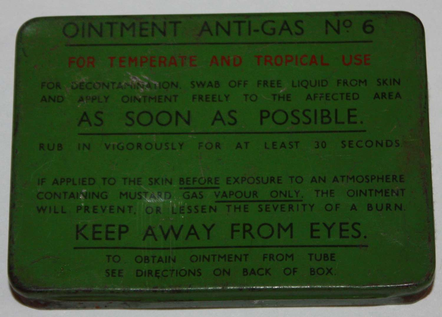 A FAIRLY GOOD WWII ANTI GAS OINTMENT NO 6 TIN SEE PICS