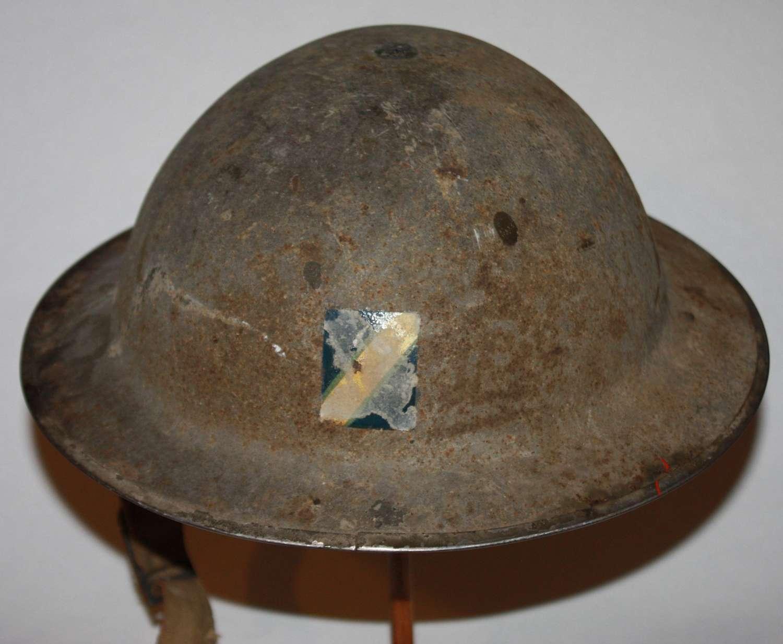 A WWII ROYAL OBSERVER CORPS STEEL HELMET