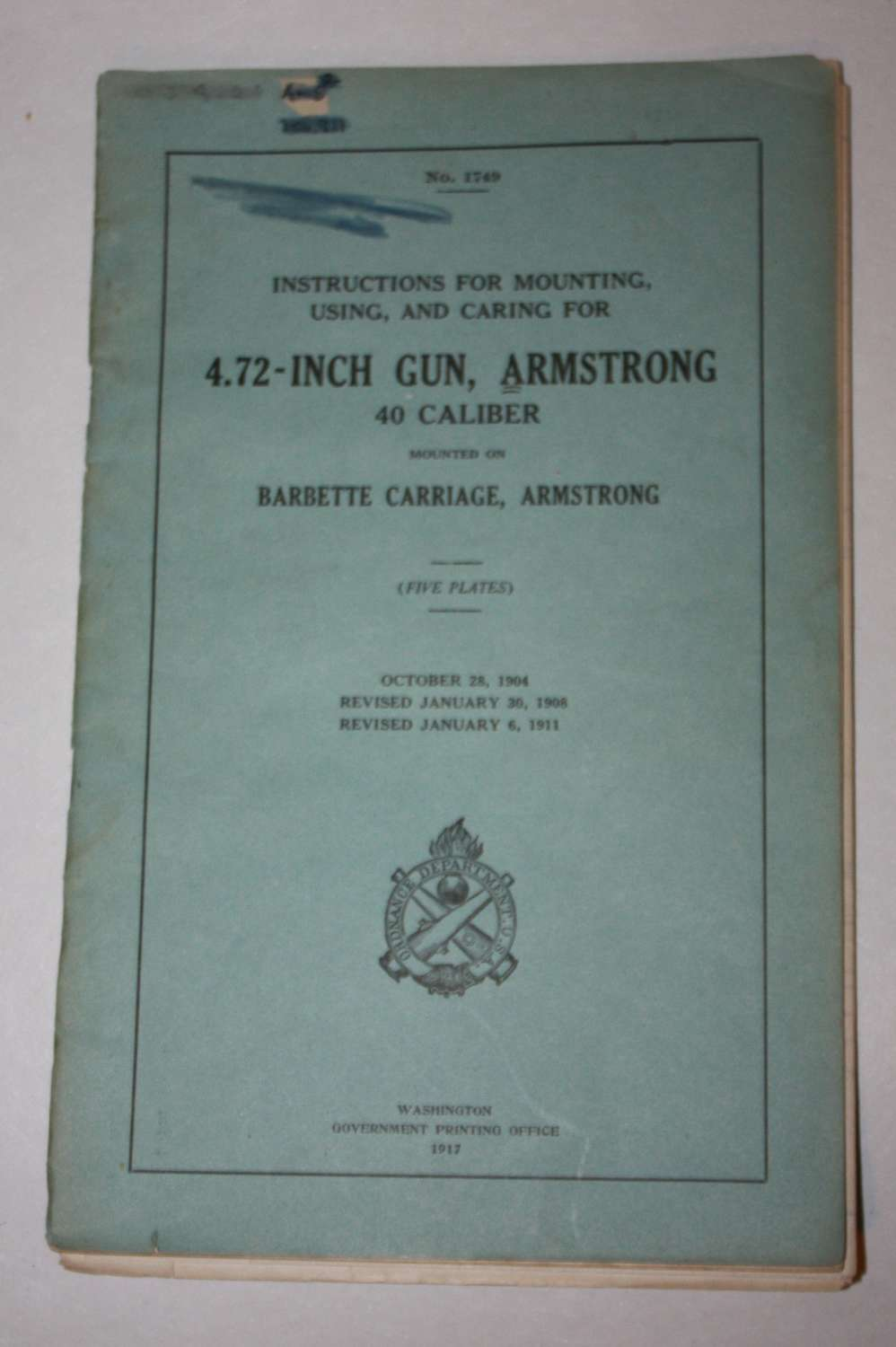 A WWI US ARMY 4.7 INCH GUN ARMSTRONG 1917 DATED EXAMPLE