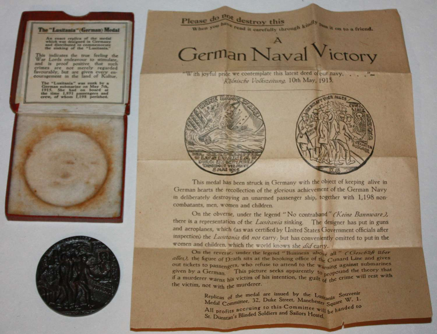 A VERY GOOD CONDITION WWI BRITISH R M S LUSITANIA COMPLETE BOXEDMEDAL