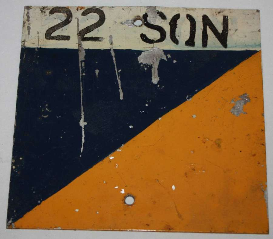 A RASC 22 SQN VEHICLE SIGN ROUGHLY 6 X 6 INCHES